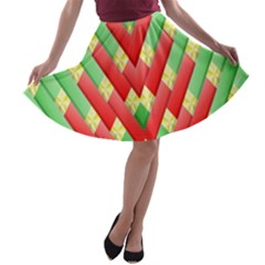 Christmas Geometric 3d Design A Line Skater Skirt