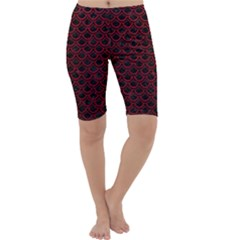 Scales2 Black Marble & Red Leather (r) Cropped Leggings