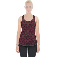 Scales2 Black Marble & Red Leather (r) Piece Up Tank Top