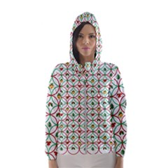 Christmas Decorations Background Hooded Wind Breaker (women)