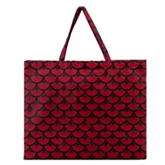 Scales3 Black Marble & Red Leather Zipper Large Tote Bag
