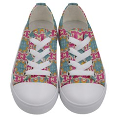 Christmas Holidays Seamless Pattern Kids  Low Top Canvas Sneakers