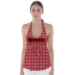 Christmas Paper Wrapping Paper Babydoll Tankini Top