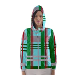 Christmas Plaid Backgrounds Plaid Hooded Wind Breaker (women)