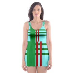 Christmas Plaid Backgrounds Plaid Skater Dress Swimsuit