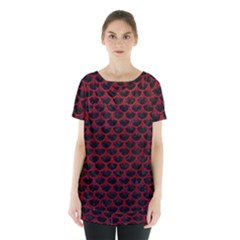 Scales3 Black Marble & Red Leather (r) Skirt Hem Sports Top