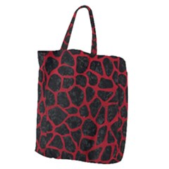 Skin1 Black Marble & Red Leather Giant Grocery Zipper Tote