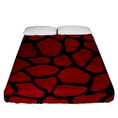 Skin1 Black Marble & Red Leather (r) Fitted Sheet (queen Size)