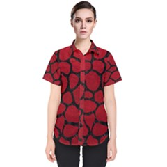 Skin1 Black Marble & Red Leather (r) Women s Short Sleeve Shirt