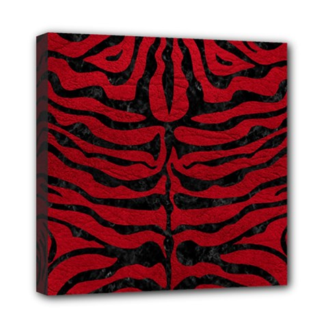 Skin2 Black Marble & Red Leather Mini Canvas 8  X 8