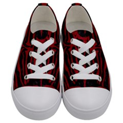 Skin2 Black Marble & Red Leather (r) Kids  Low Top Canvas Sneakers