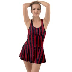 Skin4 Black Marble & Red Leather Swimsuit