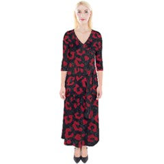 Skin5 Black Marble & Red Leather Quarter Sleeve Wrap Maxi Dress