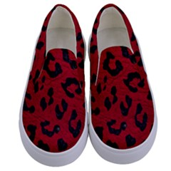 Skin5 Black Marble & Red Leather (r) Kids  Canvas Slip Ons