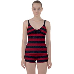 Stripes2 Black Marble & Red Leather Tie Front Two Piece Tankini