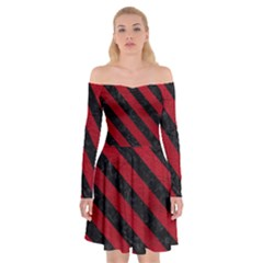 Stripes3 Black Marble & Red Leather Off Shoulder Skater Dress