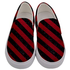 Stripes3 Black Marble & Red Leather Men s Canvas Slip Ons