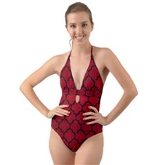 Tile1 Black Marble & Red Leather Halter Cut Out One Piece Swimsuit