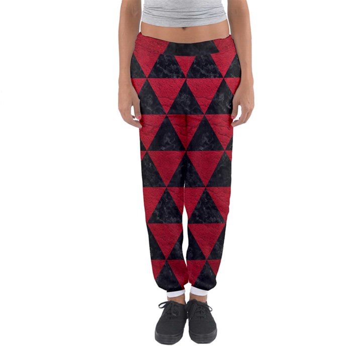 TRIANGLE3 BLACK MARBLE & RED LEATHER Women s Jogger Sweatpants