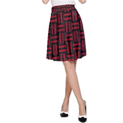 Woven1 Black Marble & Red Leather (r) A Line Skirt