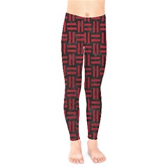 Woven1 Black Marble & Red Leather (r) Kids  Legging