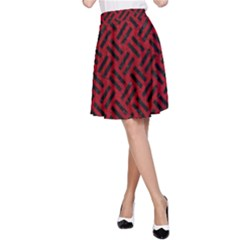 Woven2 Black Marble & Red Leather A Line Skirt