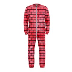 Brick1 Black Marble & Red Watercolor Onepiece Jumpsuit (kids)
