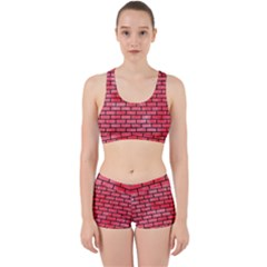 Brick1 Black Marble & Red Watercolor Work It Out Sports Bra Set