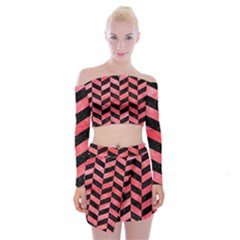 Chevron1 Black Marble & Red Watercolor Off Shoulder Top With Mini Skirt Set