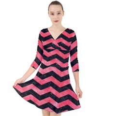 Chevron3 Black Marble & Red Watercolor Quarter Sleeve Front Wrap Dress