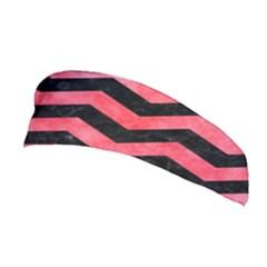 Chevron3 Black Marble & Red Watercolor Stretchable Headband