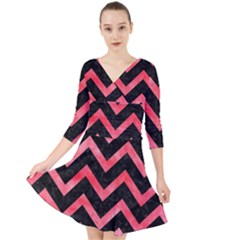 Chevron9 Black Marble & Red Watercolor (r) Quarter Sleeve Front Wrap Dress
