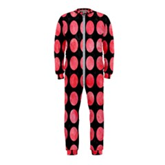 Circles1 Black Marble & Red Watercolor (r) Onepiece Jumpsuit (kids)