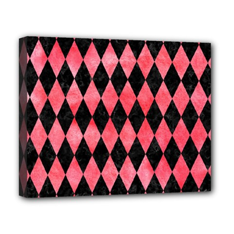 Diamond1 Black Marble & Red Watercolor Deluxe Canvas 20  X 16