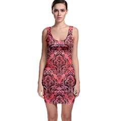 Damask1 Black Marble & Red Watercolor Bodycon Dress