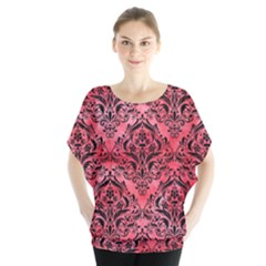Damask1 Black Marble & Red Watercolor Blouse