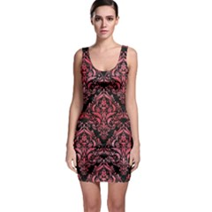 Damask1 Black Marble & Red Watercolor (r) Bodycon Dress