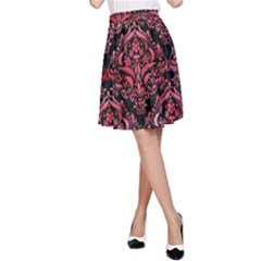 Damask1 Black Marble & Red Watercolor (r) A Line Skirt