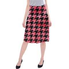Houndstooth1 Black Marble & Red Watercolor Midi Beach Skirt