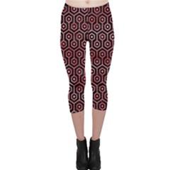 Hexagon1 Black Marble & Red Watercolor (r) Capri Leggings