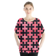 Puzzle1 Black Marble & Red Watercolor Blouse