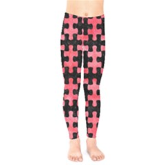 Puzzle1 Black Marble & Red Watercolor Kids  Legging
