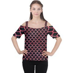 Scales1 Black Marble & Red Watercolor (r) Cutout Shoulder Tee
