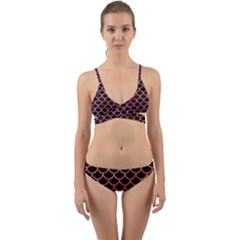 Scales1 Black Marble & Red Watercolor (r) Wrap Around Bikini Set