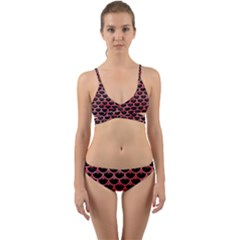 Scales3 Black Marble & Red Watercolor (r) Wrap Around Bikini Set