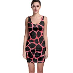 Skin1 Black Marble & Red Watercolor Bodycon Dress
