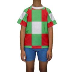 Fabric Christmas Colors Bright Kids  Short Sleeve Swimwear
