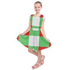 Fabric Christmas Colors Bright Kids  Short Sleeve Dress