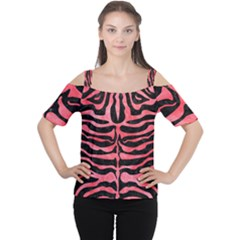 Skin2 Black Marble & Red Watercolor (r) Cutout Shoulder Tee