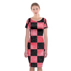 Square1 Black Marble & Red Watercolor Classic Short Sleeve Midi Dress